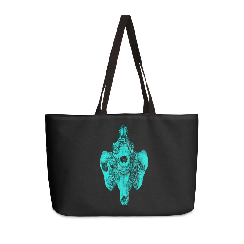 Cyan Coyote Skull Accessories Weekender Bag Bag by Jason Castillo Illustration