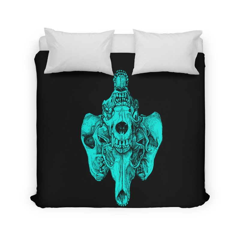 Cyan Coyote Skull Home Duvet by Jason Castillo Illustration