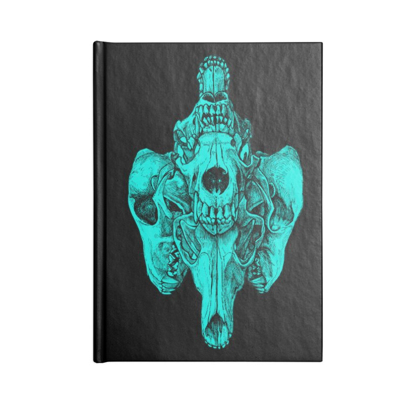 Cyan Coyote Skull Accessories Lined Journal Notebook by Jason Castillo Illustration