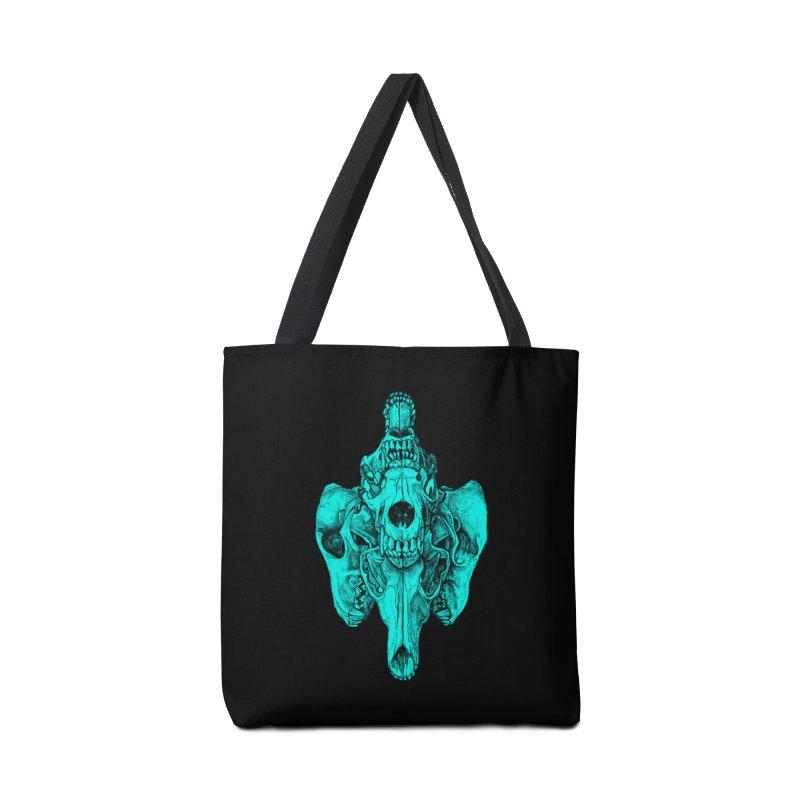 Cyan Coyote Skull Accessories Bag by Jason Castillo Illustration