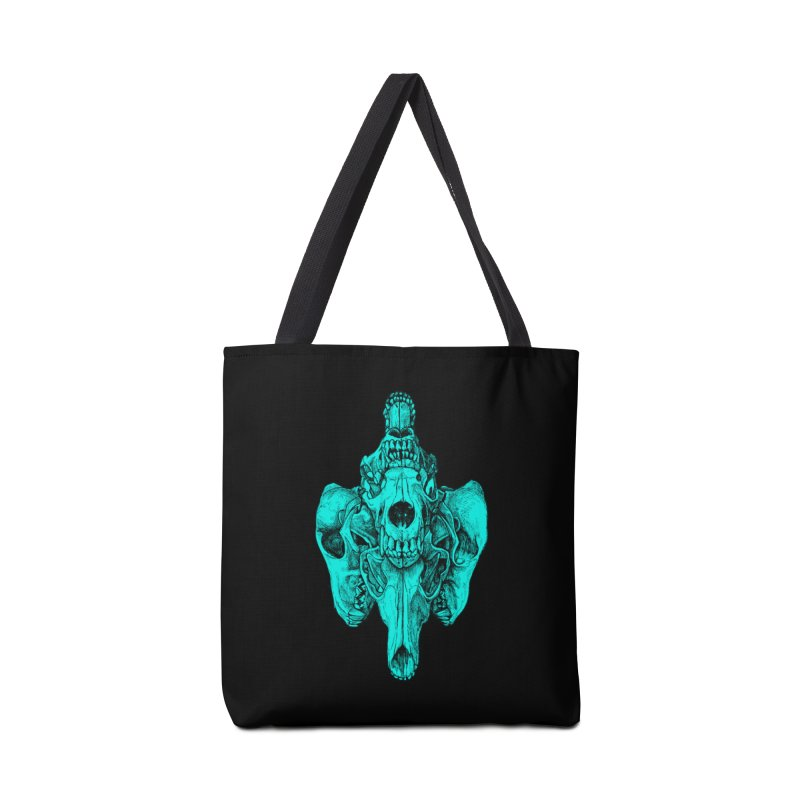 Cyan Coyote Skull Accessories Tote Bag Bag by Jason Castillo Illustration