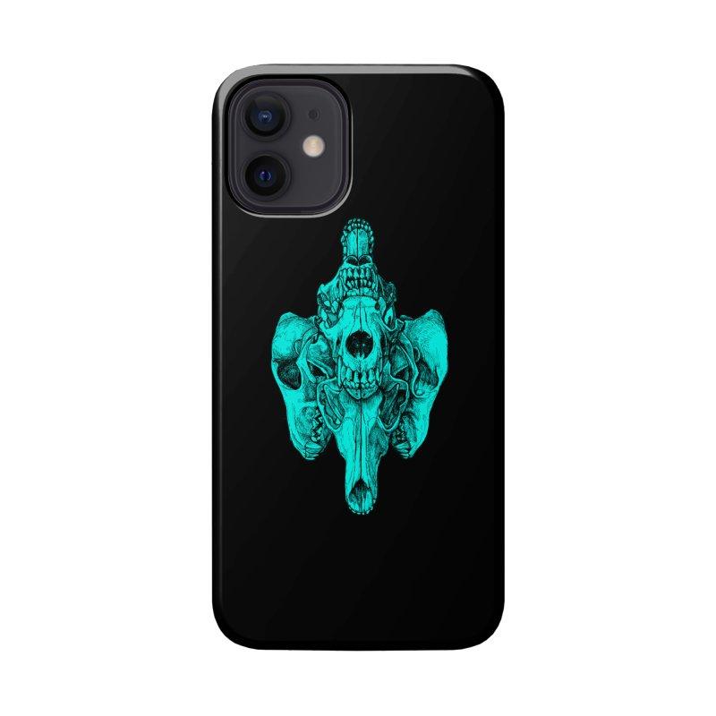 Cyan Coyote Skull Accessories Phone Case by Jason Castillo Illustration