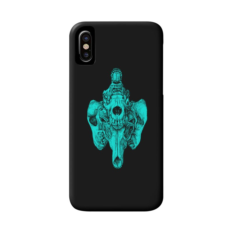 Cyan Coyote Skull Accessories Phone Case by Jason Castillo Illustration