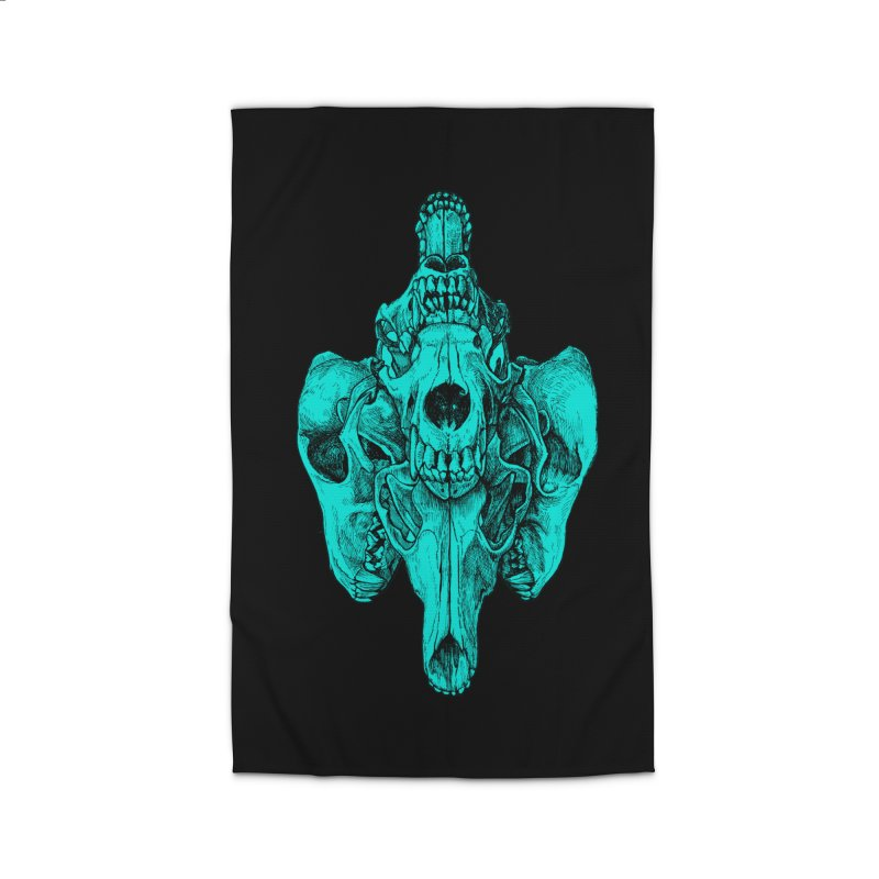 Cyan Coyote Skull Home Rug by Jason Castillo Illustration