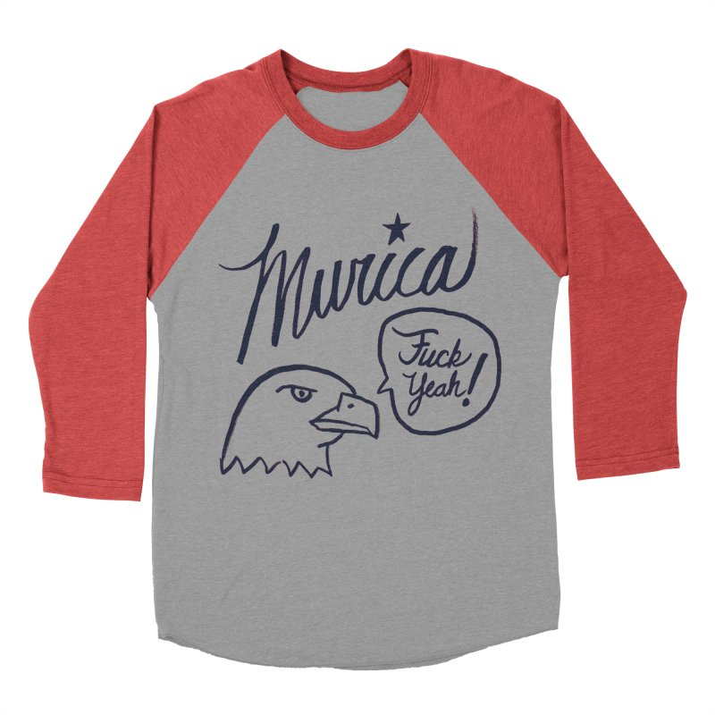 Murica Women's Baseball Triblend Longsleeve T-Shirt by Jason Castillo Illustration