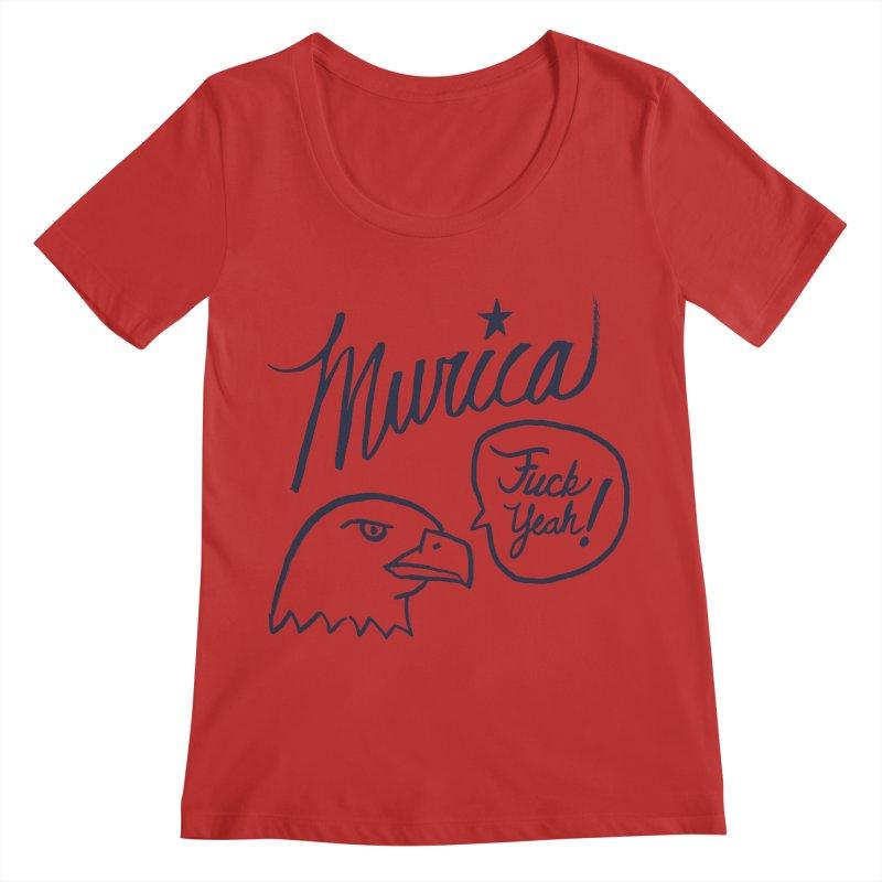 Murica Women's Regular Scoop Neck by Jason Castillo Illustration