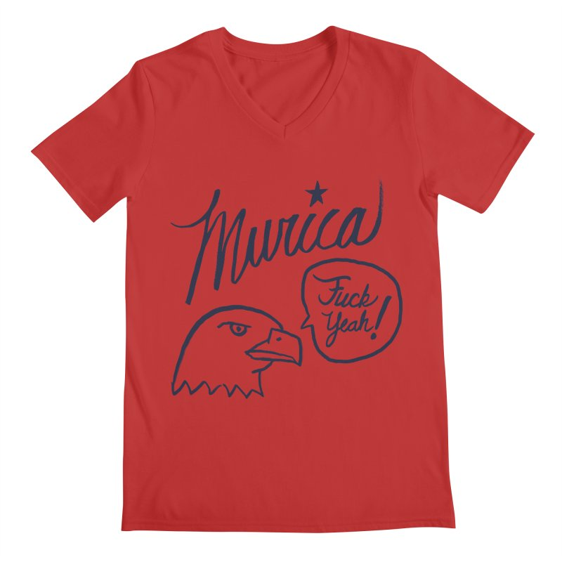 Murica Men's Regular V-Neck by Jason Castillo Illustration