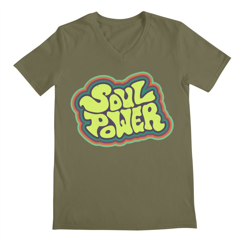 Soul Power Men's Regular V-Neck by Jason Castillo Illustration