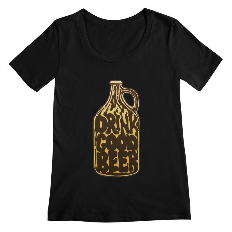 Drink Good Beer Women's Scoopneck by Jason Castillo Illustration