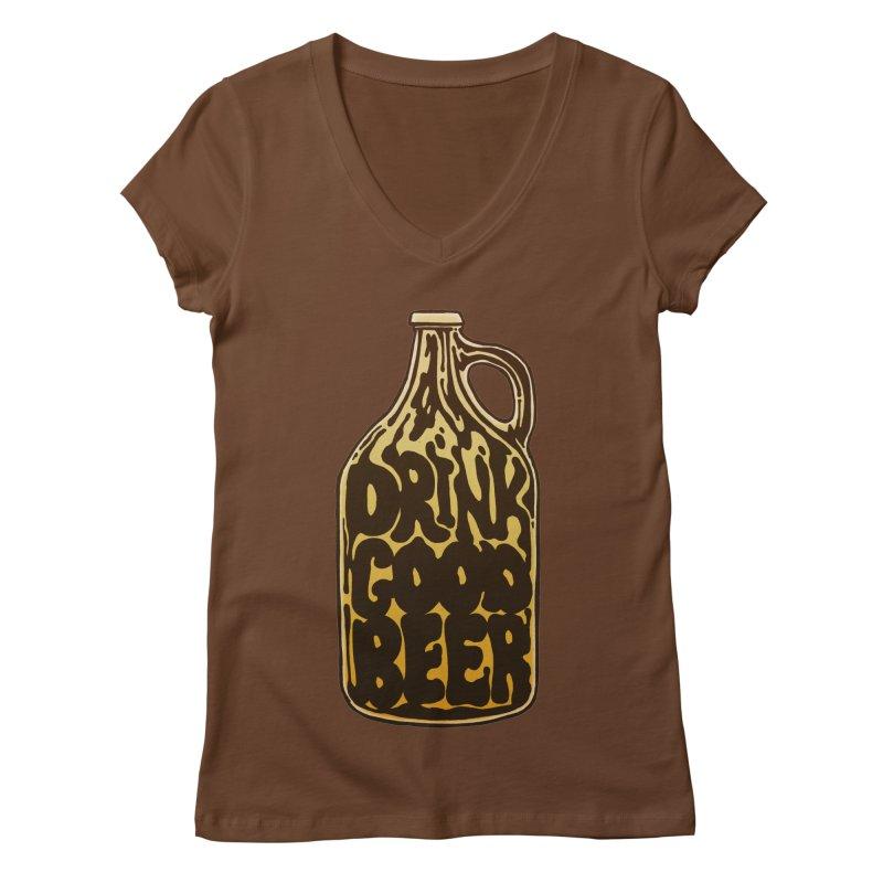 Drink Good Beer Women's Regular V-Neck by Jason Castillo Illustration
