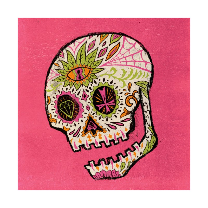 Variations on a Skull Part 2: Day of the Dead Home Bath Mat by Jason Castillo Illustration