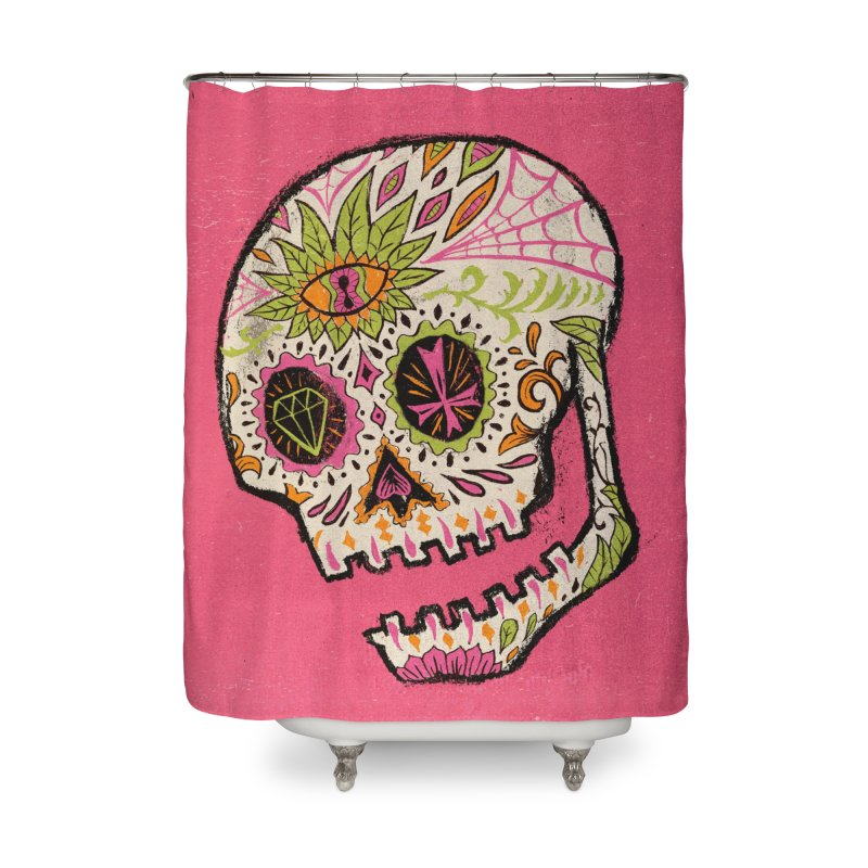 Variations on a Skull Part 2: Day of the Dead Home Shower Curtain by Jason Castillo Illustration