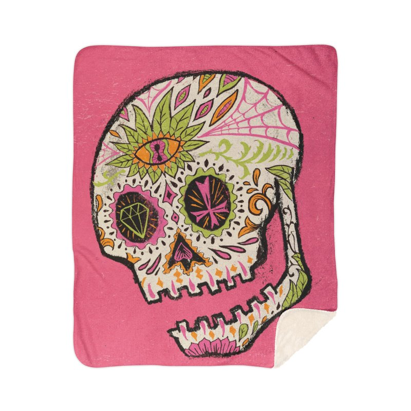Variations on a Skull Part 2: Day of the Dead Home Sherpa Blanket Blanket by Jason Castillo Illustration