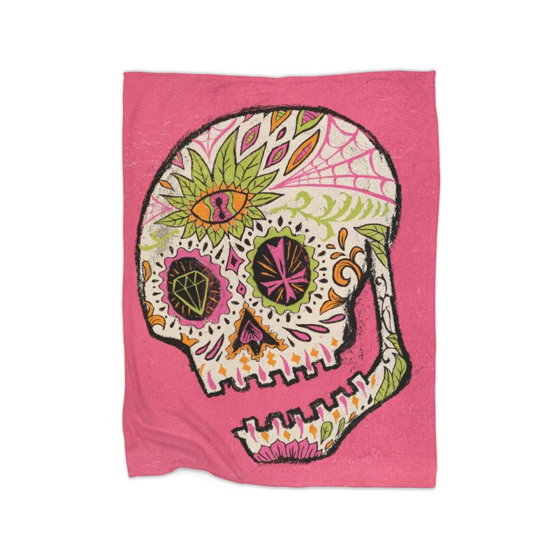 Variations on a Skull Part 2: Day of the Dead Home Fleece Blanket Blanket by Jason Castillo Illustration