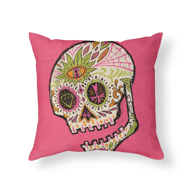Variations on a Skull Part 2: Day of the Dead Home Throw Pillow by Jason Castillo Illustration
