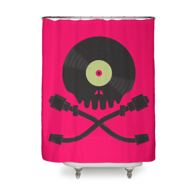 Vinyl till Death Home Shower Curtain by Jason Castillo Illustration