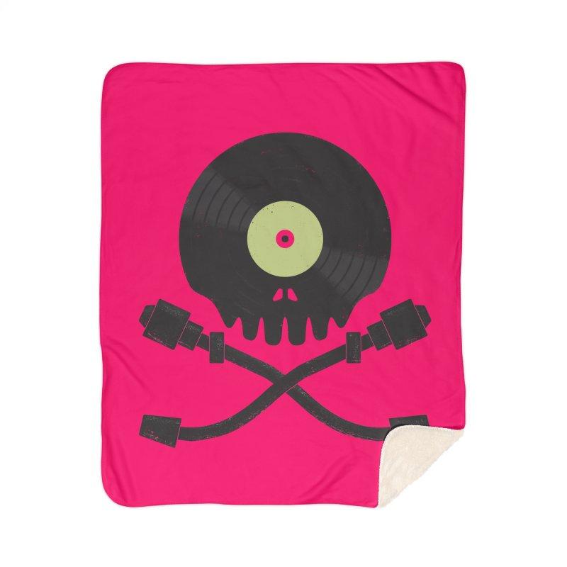 Vinyl till Death Home Sherpa Blanket Blanket by Jason Castillo Illustration