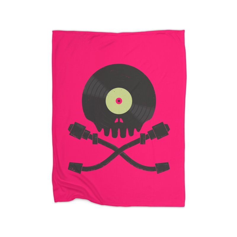 Vinyl till Death Home Fleece Blanket Blanket by Jason Castillo Illustration