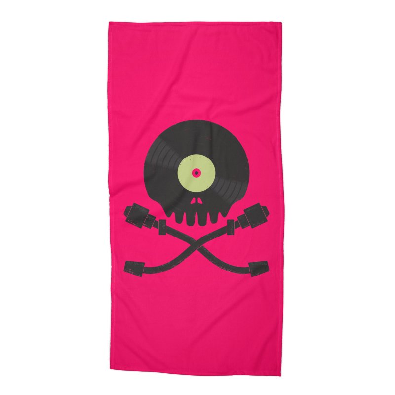Vinyl till Death Accessories Beach Towel by Jason Castillo Illustration