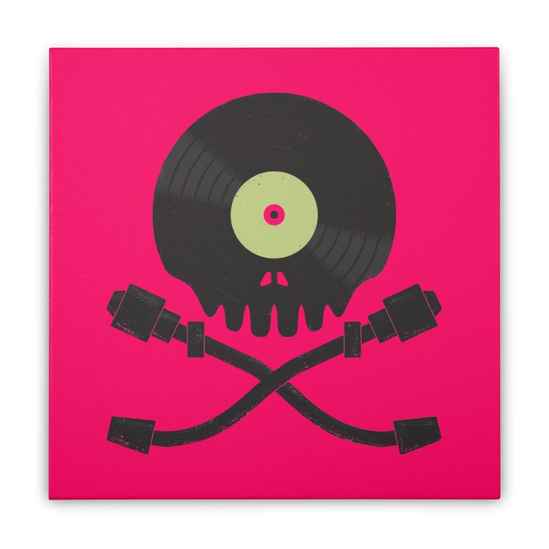 Vinyl till Death Home Stretched Canvas by Jason Castillo Illustration