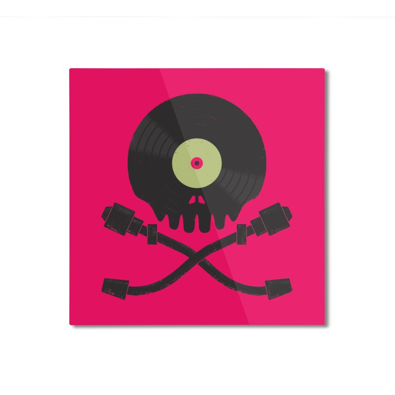 Vinyl till Death Home Mounted Aluminum Print by Jason Castillo Illustration