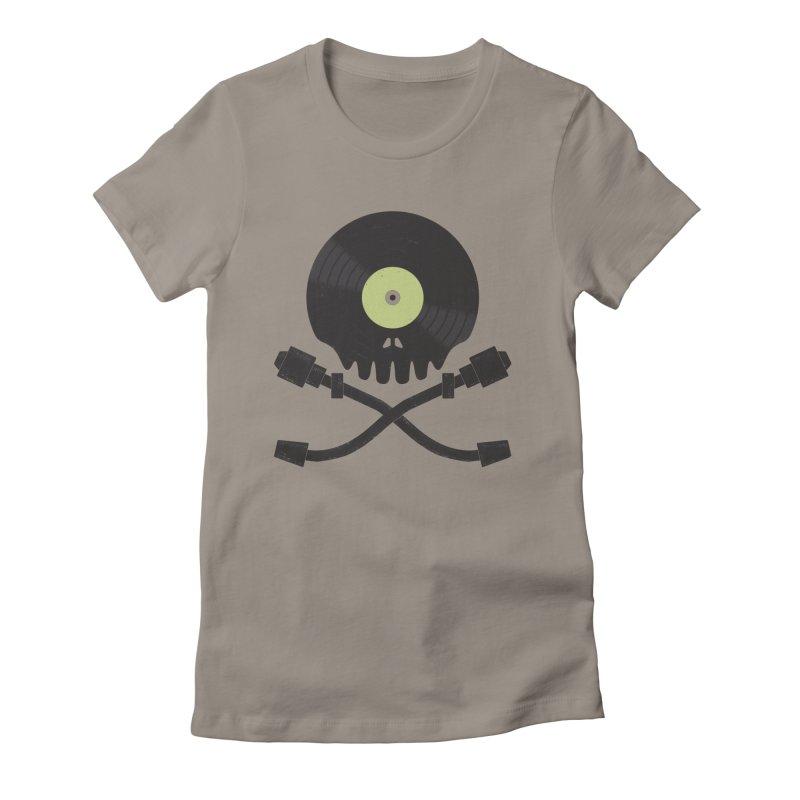 Vinyl till Death Women's Fitted T-Shirt by Jason Castillo Illustration