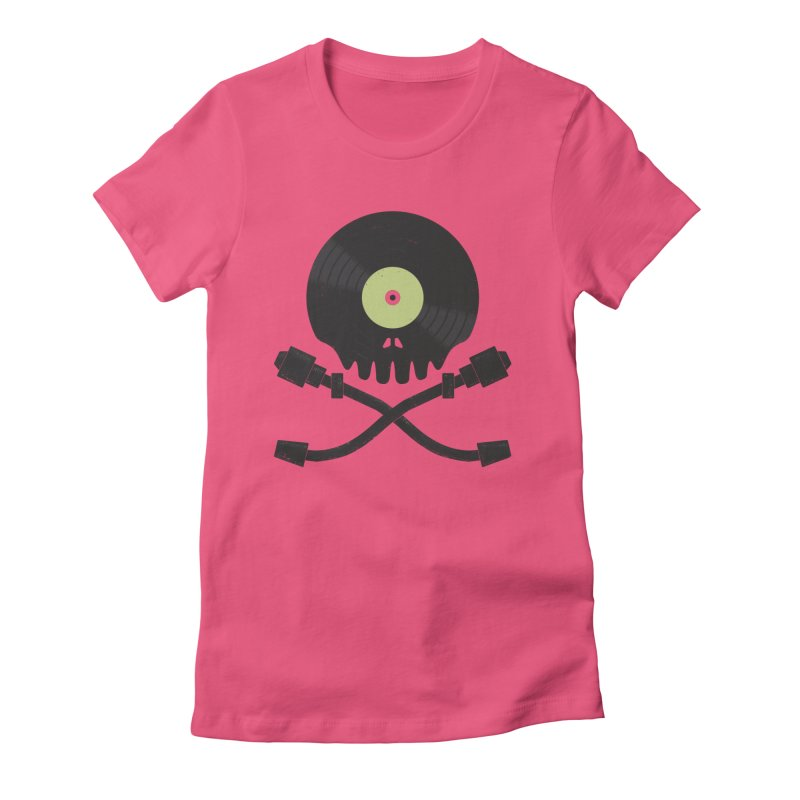 Vinyl till Death Women's Fitted T-Shirt by Jason Castillo Illustration