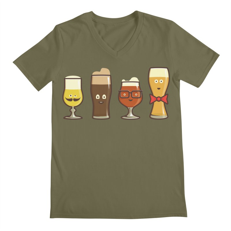 Beer Geeks Men's Regular V-Neck by Jason Castillo Illustration