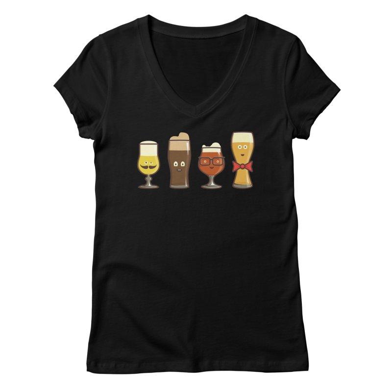Beer Geeks Women's V-Neck by Jason Castillo Illustration