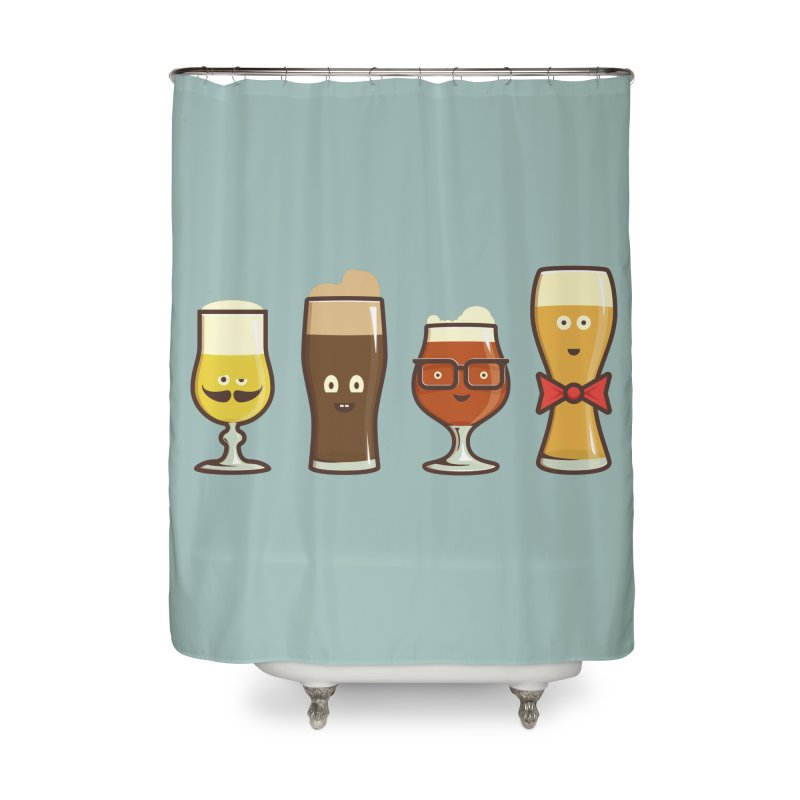 Beer Geeks Home Shower Curtain by Jason Castillo Illustration