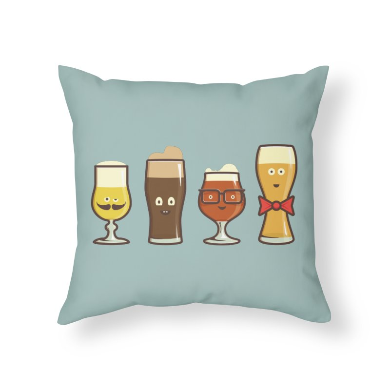 Beer Geeks Home Throw Pillow by Jason Castillo Illustration