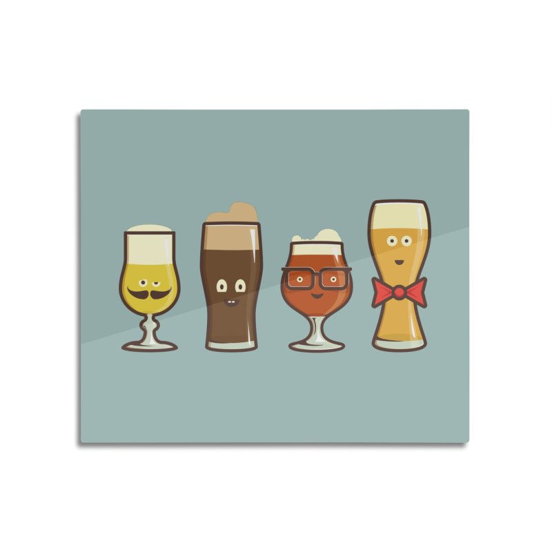 Beer Geeks Home Mounted Aluminum Print by Jason Castillo Illustration