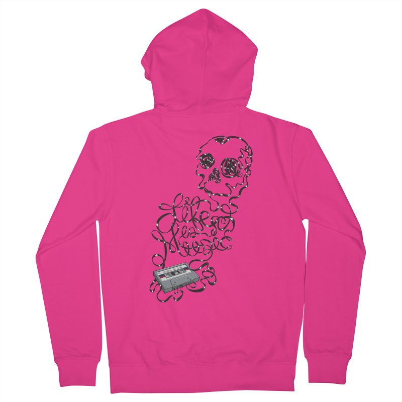 Music is Life Men's French Terry Zip-Up Hoody by Jason Castillo Illustration