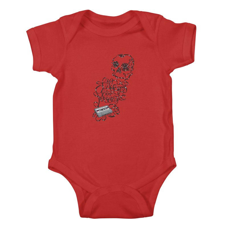 Music is Life Kids Baby Bodysuit by Jason Castillo Illustration