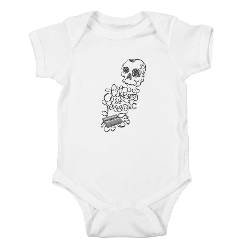 Music is Life Kids Baby Bodysuit by Jason Castillo Illustration