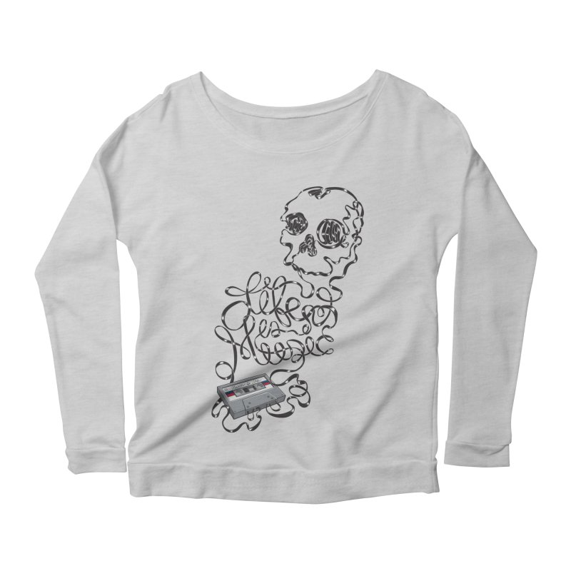 Music is Life Women's Scoop Neck Longsleeve T-Shirt by Jason Castillo Illustration