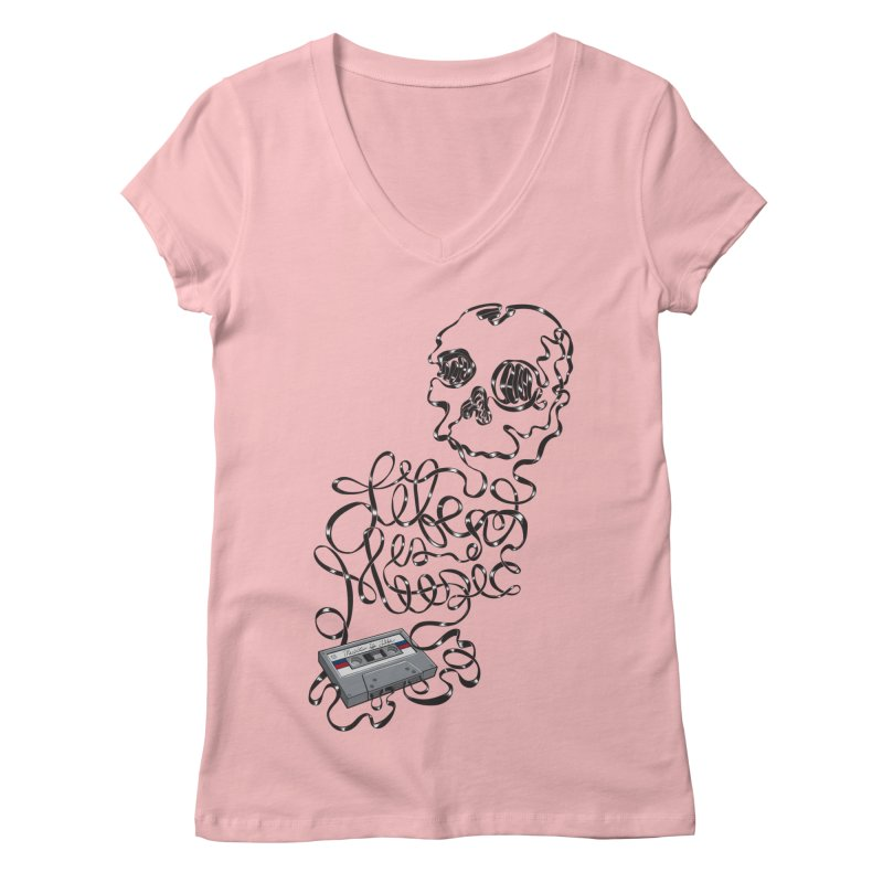 Music is Life Women's Regular V-Neck by Jason Castillo Illustration