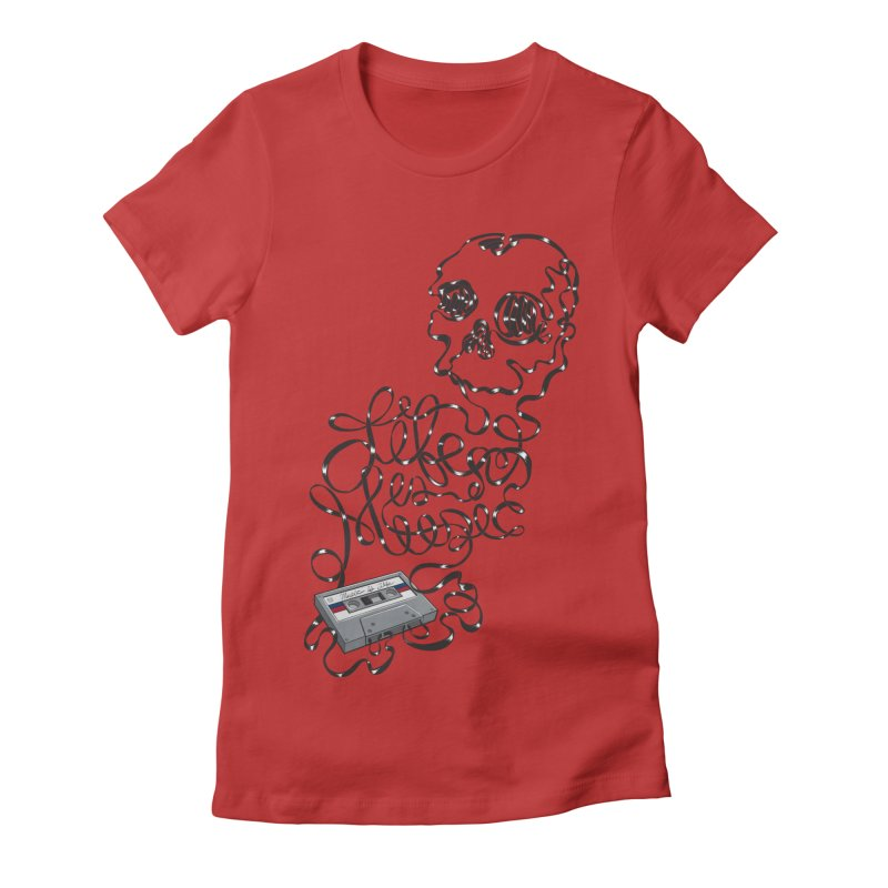 Music is Life Women's Fitted T-Shirt by Jason Castillo Illustration
