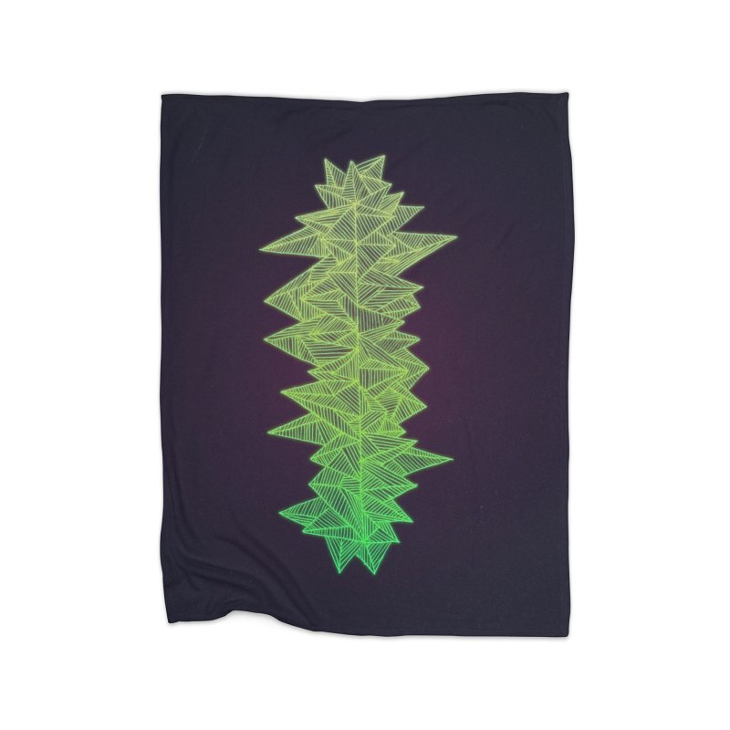 Green Monolith Home Fleece Blanket Blanket by Jason Castillo Illustration