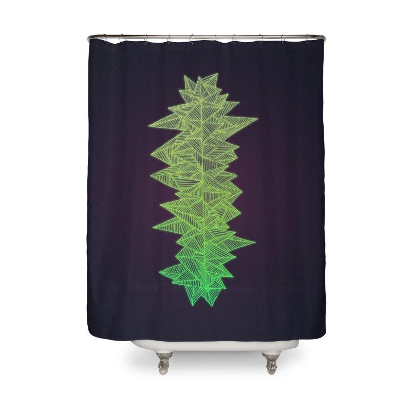 Green Monolith Home Shower Curtain by Jason Castillo Illustration