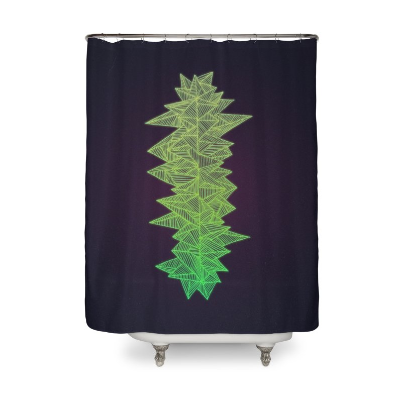 Green Monolith Home Shower Curtain by Jason Castillo Illustration