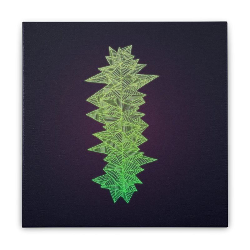 Green Monolith Home Stretched Canvas by Jason Castillo Illustration