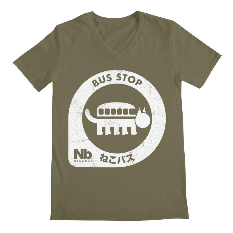 NekoBus Stop Men's Regular V-Neck by Jason Cryer