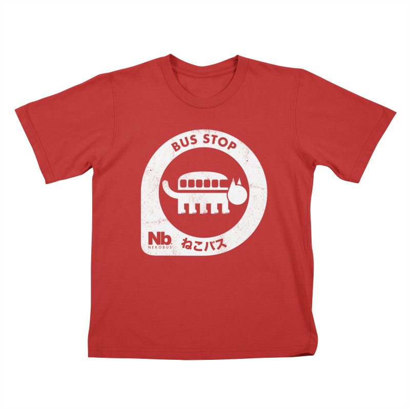 NekoBus Stop Kids T-Shirt by Jason Cryer