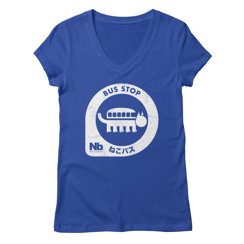 NekoBus Stop Women's V-Neck by jasoncryer's Artist Shop