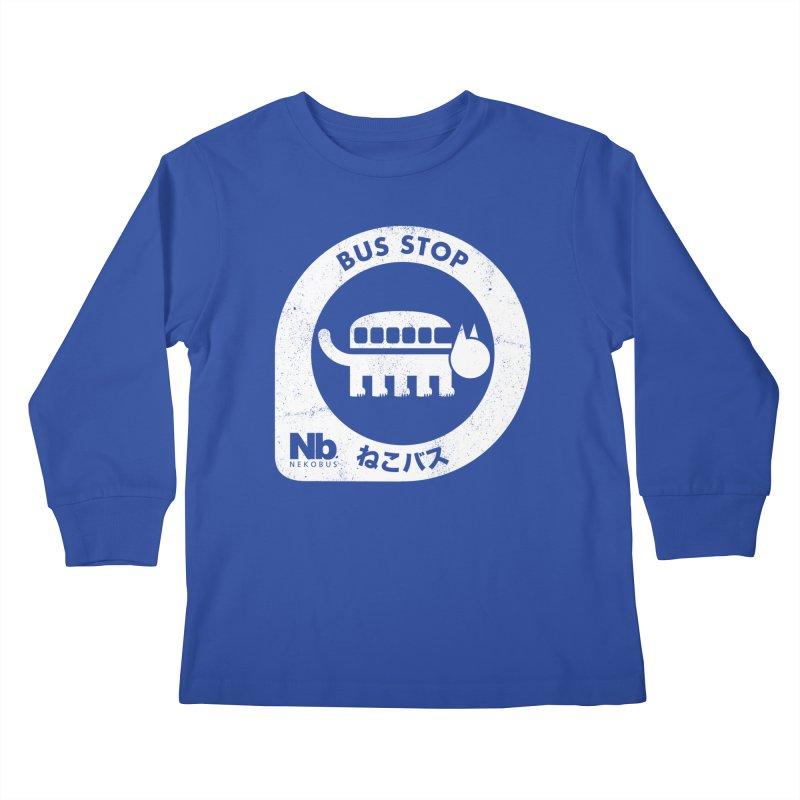 NekoBus Stop Kids Longsleeve T-Shirt by Jason Cryer