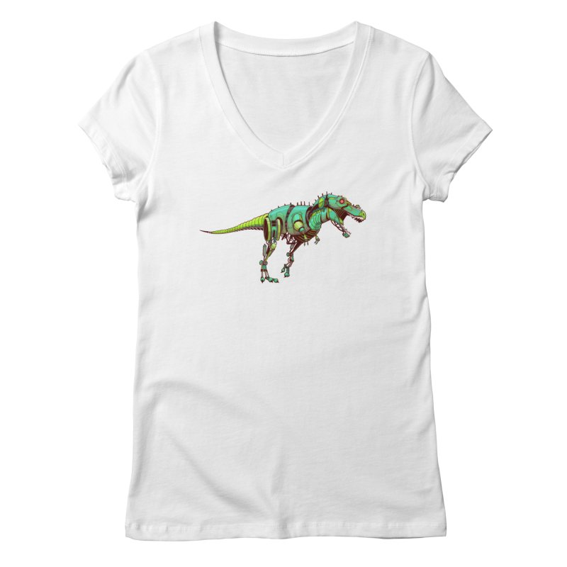 T-REX Women's V-Neck by jasongamber's Artist Shop