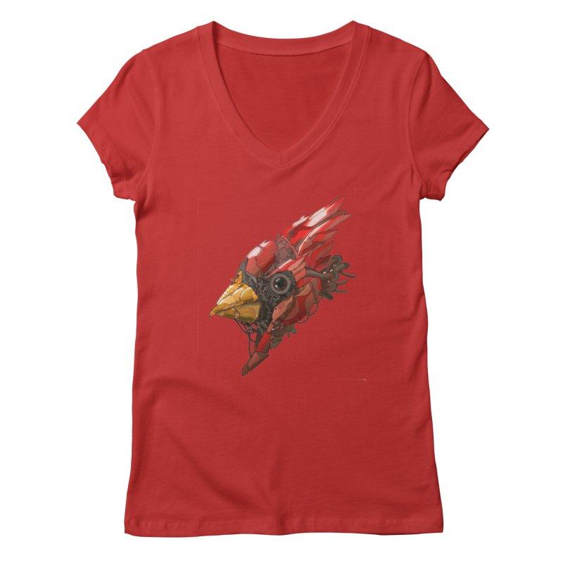 Cardinal Singe Women's V-Neck by jasongamber's Artist Shop