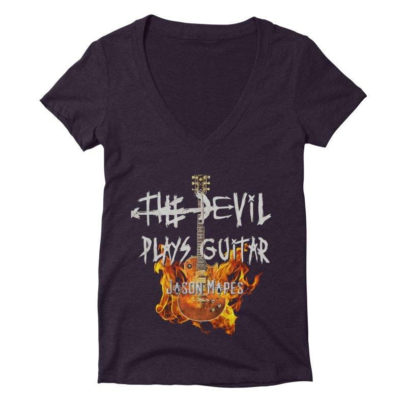 The Devil Plays Guitar Fire Logo Women's Deep V-Neck V-Neck by Jason Mapes Online Swag Shop