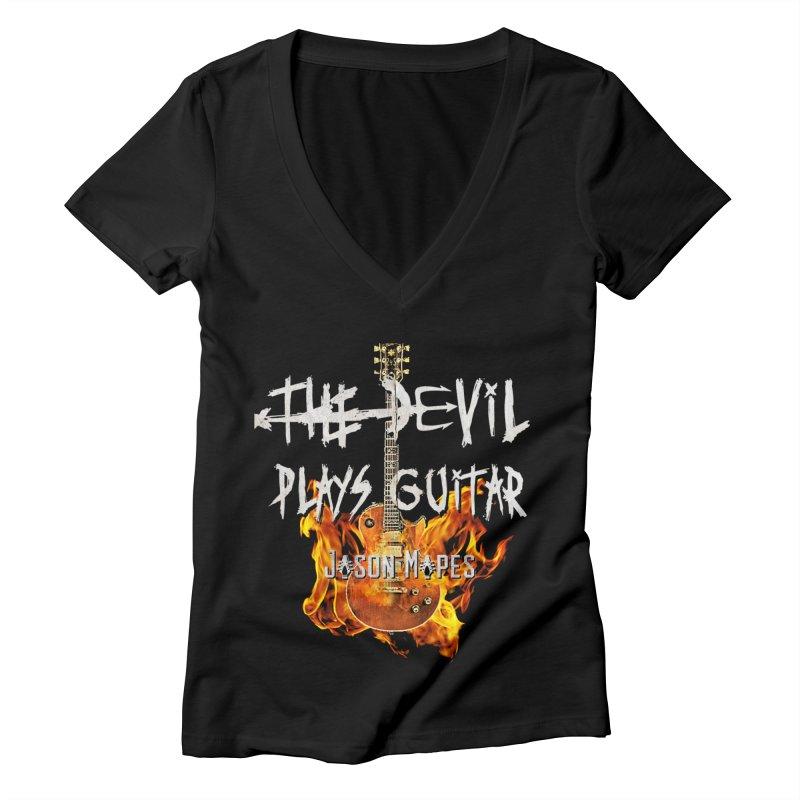 The Devil Plays Guitar Fire Logo Women's V-Neck by Jason Mapes Online Swag Shop